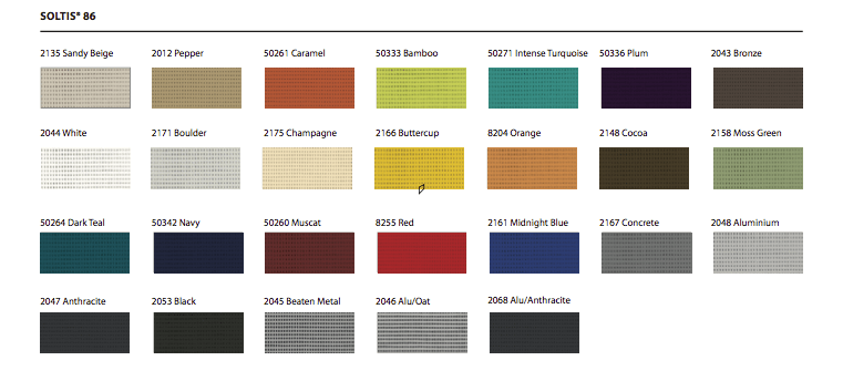 Soltis Fabric Colour Chart